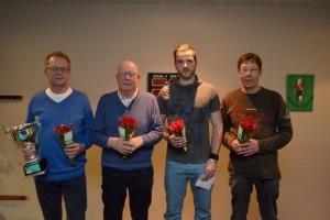 Kampioenschap Driebanden van Weststellingwerf 2014, v.l.n.r. winnaar Leo Ruitenberg,2e Jan de Boer, 3e Bennie Brandsma, 4e Herman Mooi.