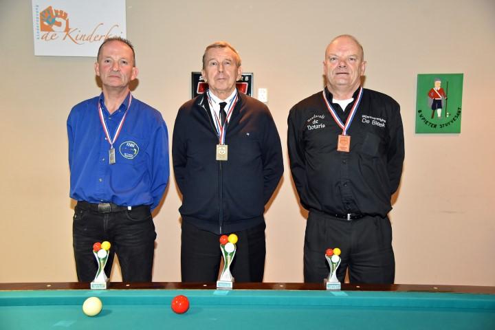 Districtsfinale bandstoten 3e klas seizoen 2016 - 2017. v.l.n.r. H.Wind, 2e pl. Delfstrahuizen. P.Turk, 1e pl.Workum. P.Kwast, 3e pl.Harlingen.