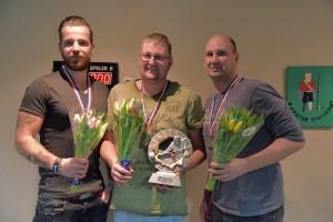 Winnaar 2015-2016, Bedrijfsbiljarten,v.l.n.r. Bennie Brandsma, Michel de Jong en Peter Kootstra.